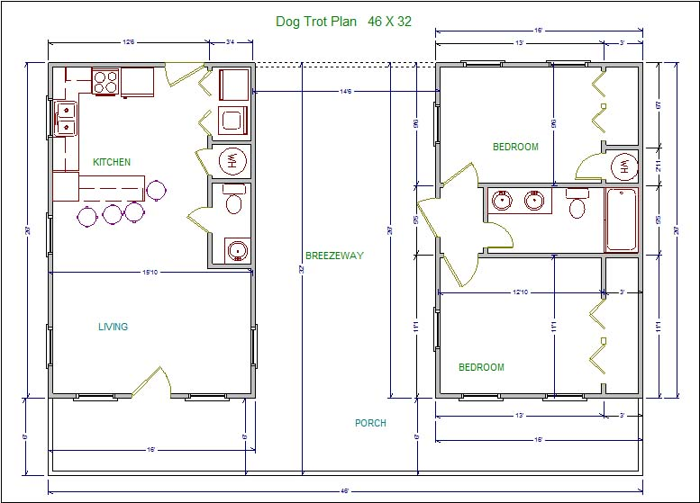 Lssm13 Dog Trot Plan Lonestar Builders Dogtrot House Floor